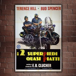 Manifesto Originale I Due Super Piedi Quasi Piatti - 140x200 - Bud Spencer, Terence Hill
