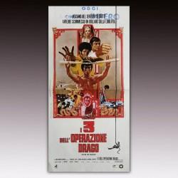 Locandina Originale I Tre Dell'Operazione Drago Bruce Lee -1973 - 33x70 CM