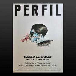 Manifesto Poster Originale Danilo De S'Acre PERFIL Mostra 1985