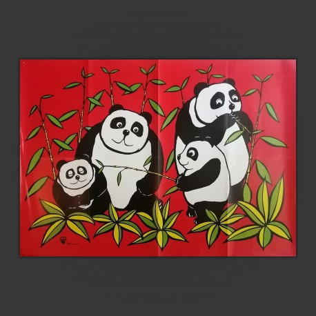 Poster Arte Originale Tony Veale Junglerumba Panda Bamboo London 1972