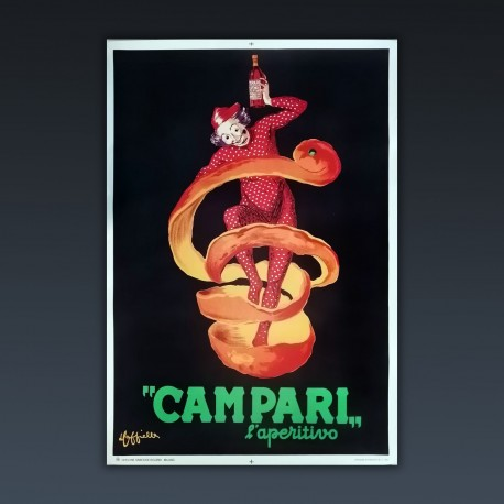 Manifesto Pubblicitario Originale Campari l'aperitivo - 1950  Leonetto Cappiello - Spiritello Campari 70X100 CM